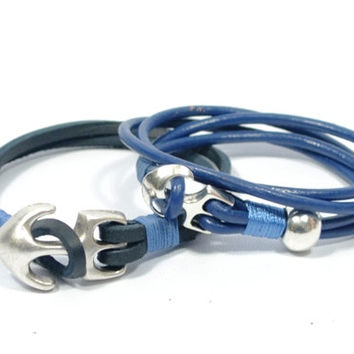 couples bracelets * gift for boyfriend * gift for girlfriend * couples gifts * anchor bracelet * men leather bracelet * couples jewelry