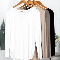 Round Neck Long Sleeve Top | Neutrals