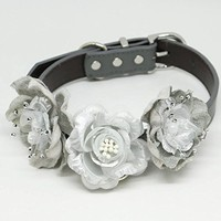 Silver and Gray Flower dog collar, Floral Wedding, Silver wedding, Pet wedding acccessory, Dog collar