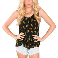 Close To You Pineapple Top - Black