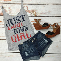 Small Town Girl Tank: RWB Grey