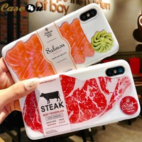 Smooth Japan Salmon Beef Pattern Phone Case For iPhone 6 6s 7 8 Plus X 10 Silicone Rubber IMD Cover for iPhone 8Plus 7Plus 6Plus