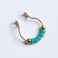 FAKE SEPTUM ring - septum - fake piercing - fake ring nose - Gold filled - turquoise