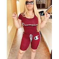 Champion Fashion New Letter Print Top And Shorts Two Piece Suit Burgundy