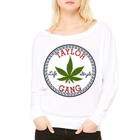 Taylor Gang Lifestyle WOMEN'S FLOWY LONG SLEEVE OFF SHOULDER TEE