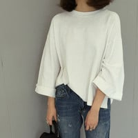 Retro Womens White Loose Simple T-Shirts Blouse Summer Gift 37