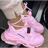 Wearwinds Balenciaga Shoes High Quality  Fashion Women Men Letters Contrast Crystal clear shoes Triple sole Shoes Pink