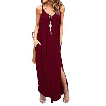 LAMISSCHE Womens Sleeveless Strappy Cami Maxi Long Dress V Neck with Pockets Beach Cover Up Slits