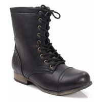 Bamboo Surprise-13 Leatherette Lace Up Military Boot BLACK