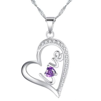 """Heart """"Love"""" sterling silver necklace with amethlyst-best seller"""