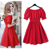 Red Off Shoulder Puffed Sleeve Elastic Waist Skater Dress