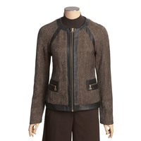 Madison Hill Tweed Jacket - Faux-Leather Trim, Zip Front (For Women) - Save 60%