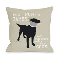 Bentin Pet Decor Its All Fun and Games Throw Pillow, 16 by 16-Inch, Oatmeal