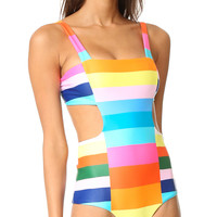 Polychrome Rainbow Open Back Padded One-piece Swimsuit