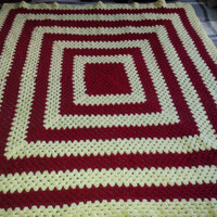 """Vintage Hand Afghan Crochet Knit Throw Blanket - with Repeating Square Pattern - 54"""" x 54"""""""
