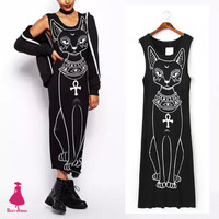 Celebrity Retro Dresses Trendy Women Ancient Egypt Cat Star Print Casual Slim Crewneck Sleeveless Long Tank Dress Black