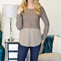 *  Esta Striped Frech Terry With Suede Bottom: Taupe