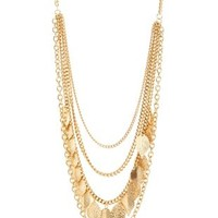 Gold Chain & Leaf Layered Necklace by Charlotte Russe