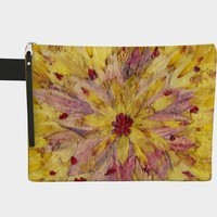 Multi-colored Yellow Floral Zippered Pouch * Women's Zippered Pouch * Cosmetic Bag * Purse Organizer * Travel Pouch * Fabric Pouch