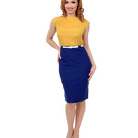 1950s Style Yellow & Navy Two Tone Belted Wiggle Dress