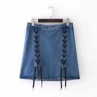 Women Sexy Skirts Blue Denim Skirt 2017 New Summer High Waist Front Split Bandage Lace up Jeans Mini Skirt Girl Cool Streetwear