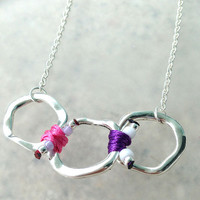Spring 2014 Collection Silver Ring Necklace with Pink Tone Cords