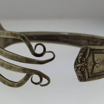Vintage 1920s Silver-Plated Winfield Engraved Fork Cuff Bangle Bracelet