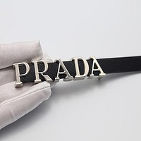 PRADA belt retro simple ancient gold silver personality buckle jeans belt with coat thin belt