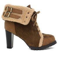 Faux Fur Heel Ankle Boots in Camel