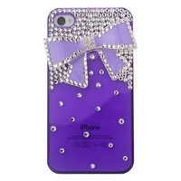 MinisDesign 3D Diamond Bling Crystal Purple Bow iPhone 4 And 4S Case Cover (Color:Purple, Fits: At&t, Sprint, Verizon, Package includes: 1 X screen protector and extra Rhinestones)