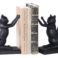 Pair of Cat Bookends, Black, Bookends