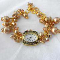 Victorian Gold Watch Bracelet,Gold Pearl Bracelet,Victorian Jewelry,Edwardian Jewelry,Downton Abbey