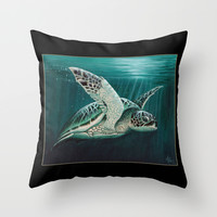 """Moonlit"" - Green Sea Turtle, Acrylic Throw Pillow by Amber Marine"