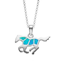 Journee Collection Blue Opal Sterling Silver Horse Pendant Necklace