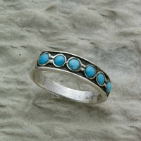 6 Turquoise Stones set on Oxidized Sterling Silver Ring Band December Birthstone