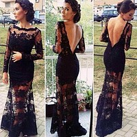 Fashion Gauze Backless Lace Maxi Dress
