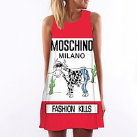 MOSCHINO Women Fashion Sleeveless Print Mini Dress