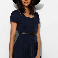 Pins And Needles Button-Front Short-Sleeve Cutout Dress- Navy XS