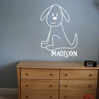 Custom Puppy Decal - Personalized Dog - Wall Art - Kids Room - Custom Kid Name - Custom Decal - Gift Idea - Kids Room Decor - Playroom