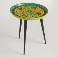 Blue and Green Painted Side Table