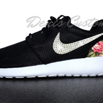 Nike Roshe Run One Black with Glitter Swarovski Crystals and Custom Pink Floral Print