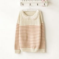 Cute sweater with Stripes Pink