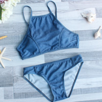 Sexy Women's Halter Denim Bikini Set Swimwear BK135