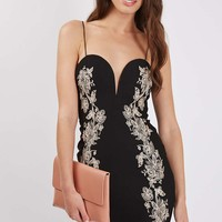 **Embroidered Sweetheart Mini Bodycon Dress by Rare - Dresses - Clothing
