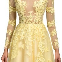 Sunvary Sexy Sheer Lace Long Sleeves Prom Dance Formal Dresses Long