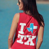 I Texas Texas Tank Top - Red