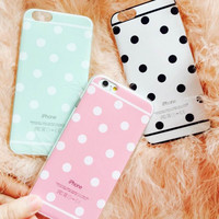 "New Hot Sale Candy Color Dot Style Soft TPU Phone Back Cover Phone Case For Iphone 6 6S 4.7"" YC1037"