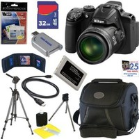 "Nikon COOLPIX P520 18.1 MP CMOS Digital Camera with 42x Zoom and ""GPS"" (Black) + EN-EL5 Battery + 9pc Bundle 32GB Deluxe Accessory Kit"