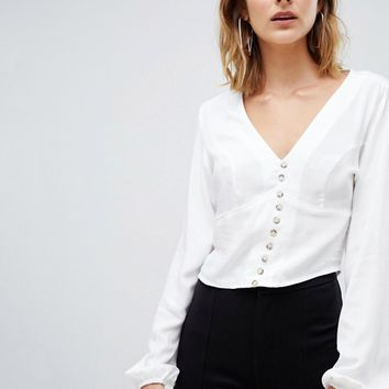 Stradivarius button front blouse in white at asos.com