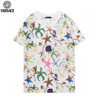 Versace fashion men's and women's round neck short-sleeved tops, personalized starfish print T-shirts
